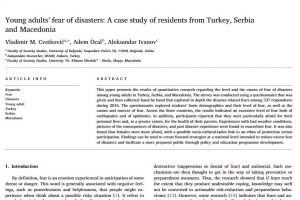 Young adults'fear of disasters: A case study of residents from Turkey, Serbiaand Macedonia
