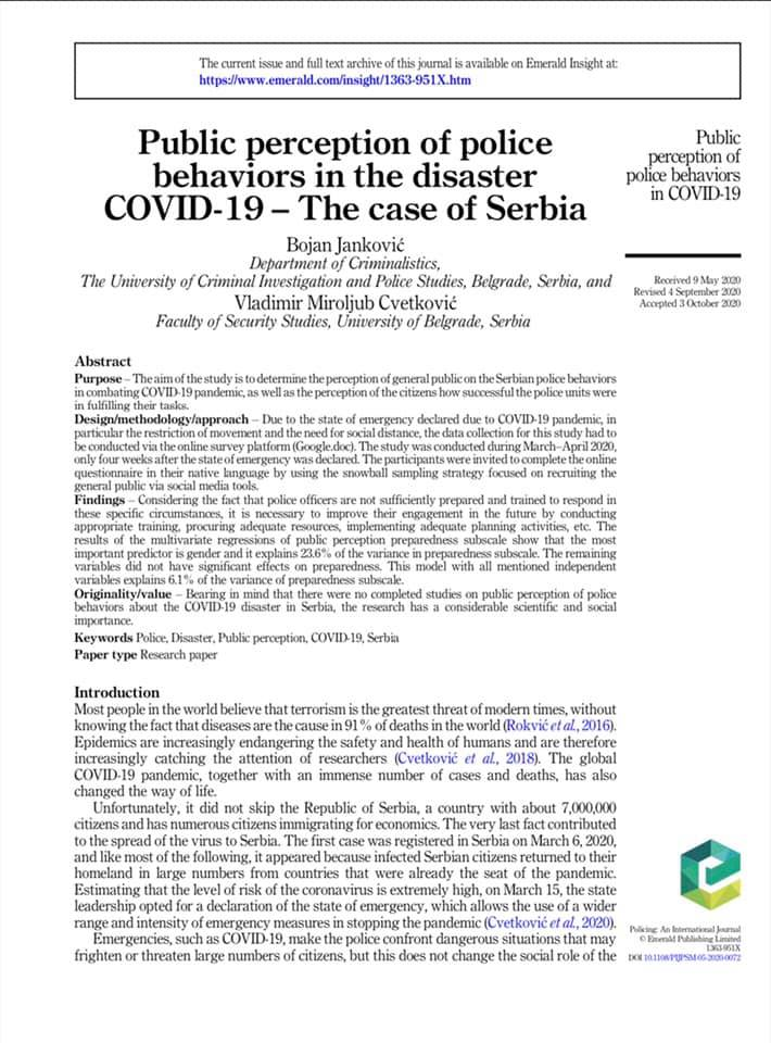 Public perception of police behaviors in the disaster COVID-19 – the Case of Serbia