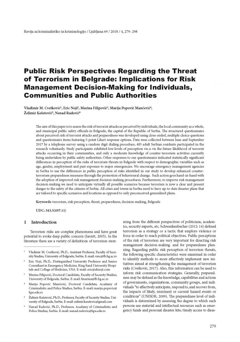 Public Risk Perspectives Regarding the Threat of Terrorism in Belgrade: Implications for Risk Management Decision-Making for Individuals, Communities and Public Authorities