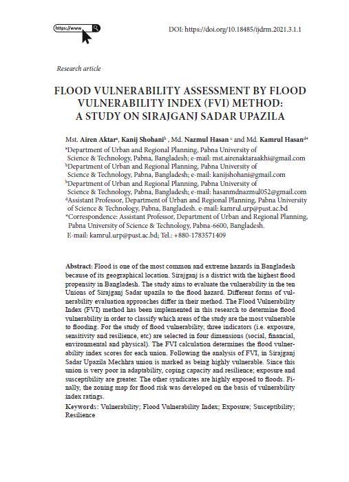International Journal of Disaster Risk Management, Vol. 3., No. 1