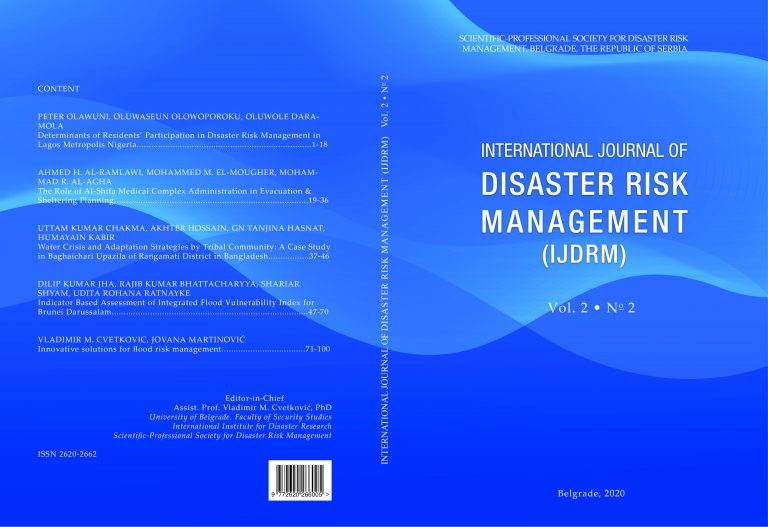 International Journal of Disaster Risk Management, Vol. 2, No. 2.