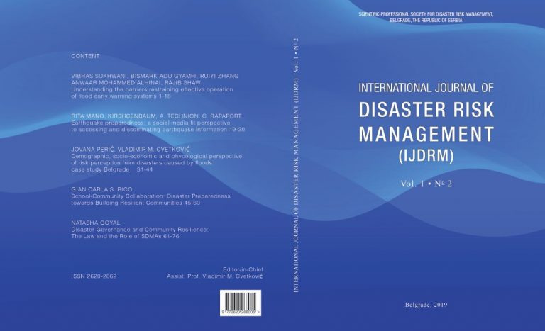 International Journal of Disaster Risk Management 1 (2)